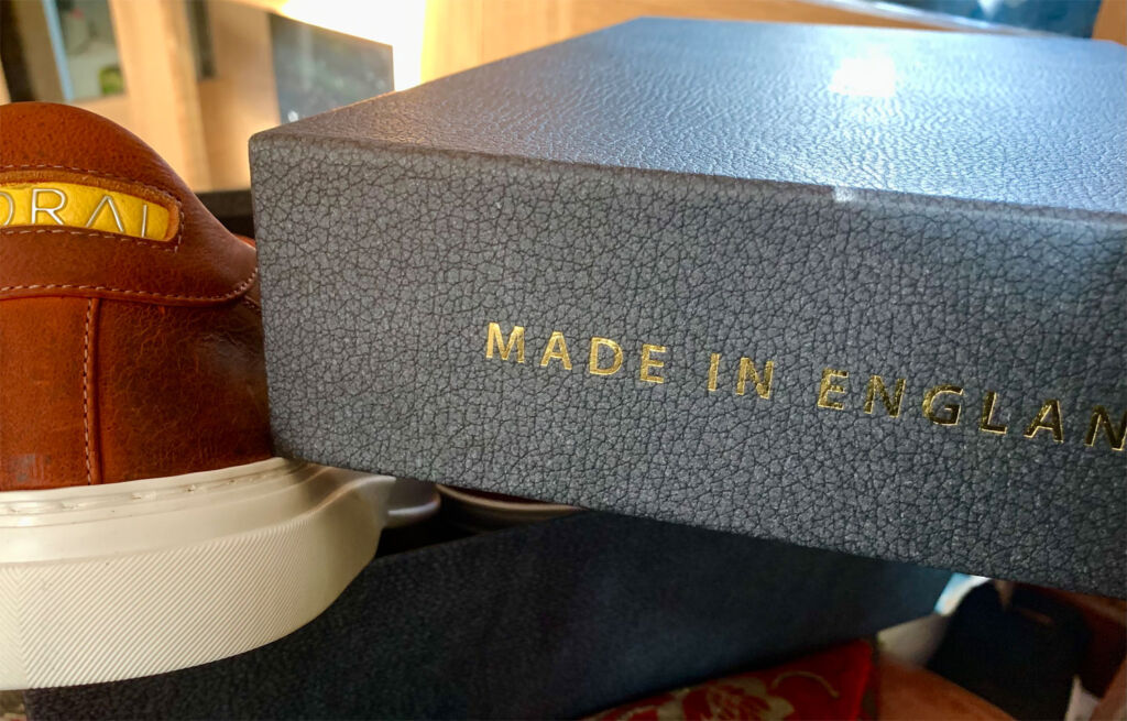 Goral shoe box with Made in England embossed in gold on the side