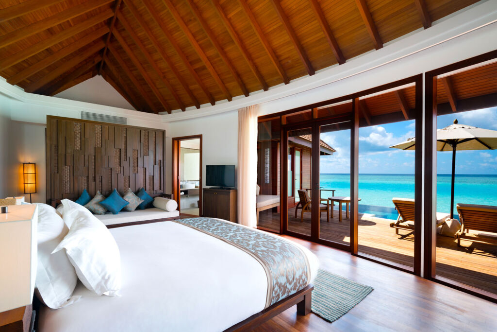 Inside the over water villa at Anantara Dhigu