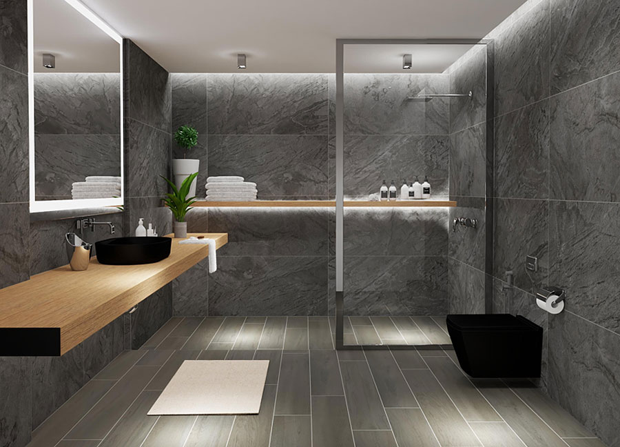 Modern bathroom with grey tile walls and floor