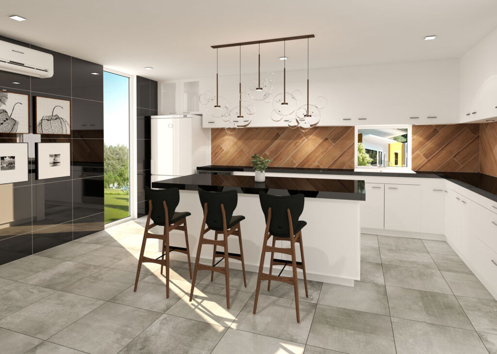 Modern kitchen with wood effect tiling on the walls