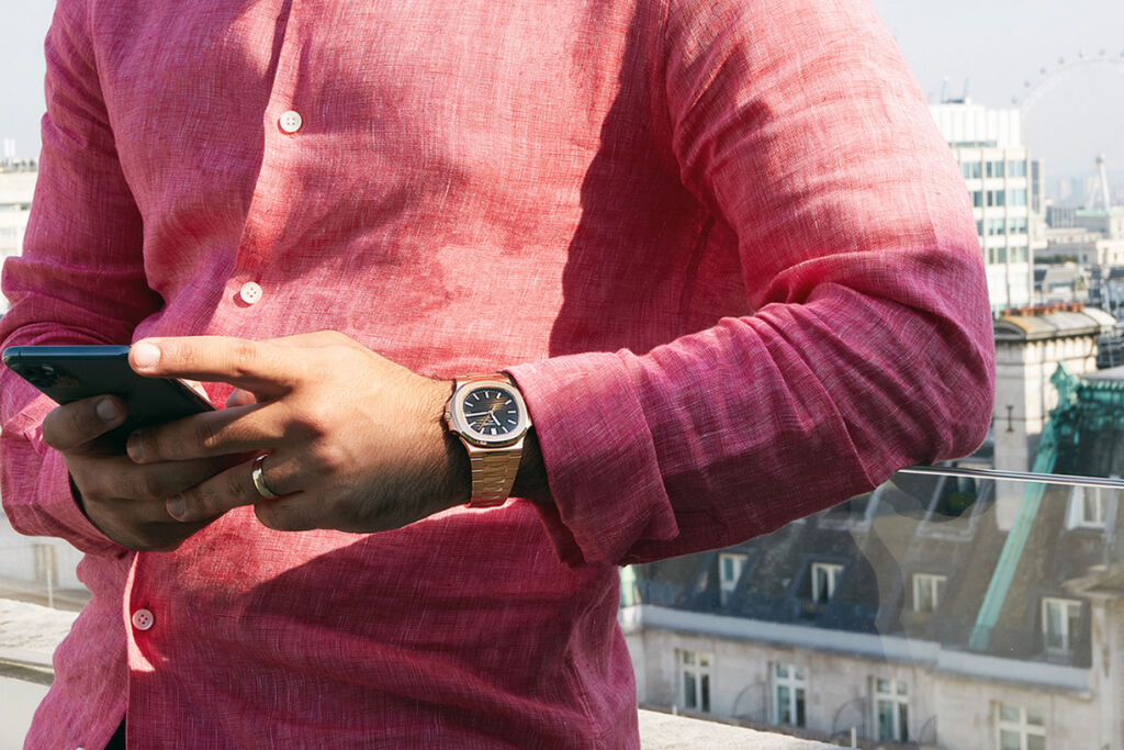 Man wearing Patek Phillipe Nautilus watch
