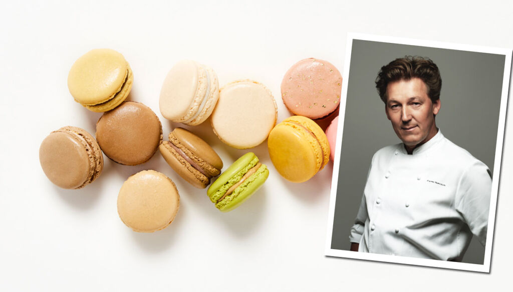 Pierre Marcolini with some of his world-famous macaroons