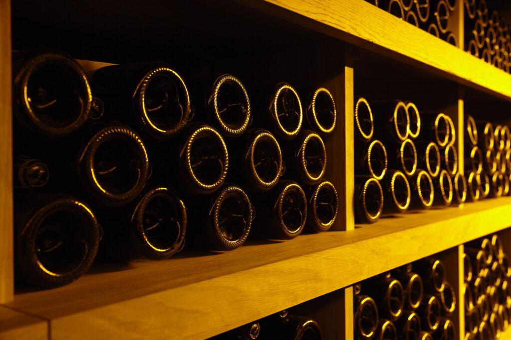 Rare champagnes on a shelf