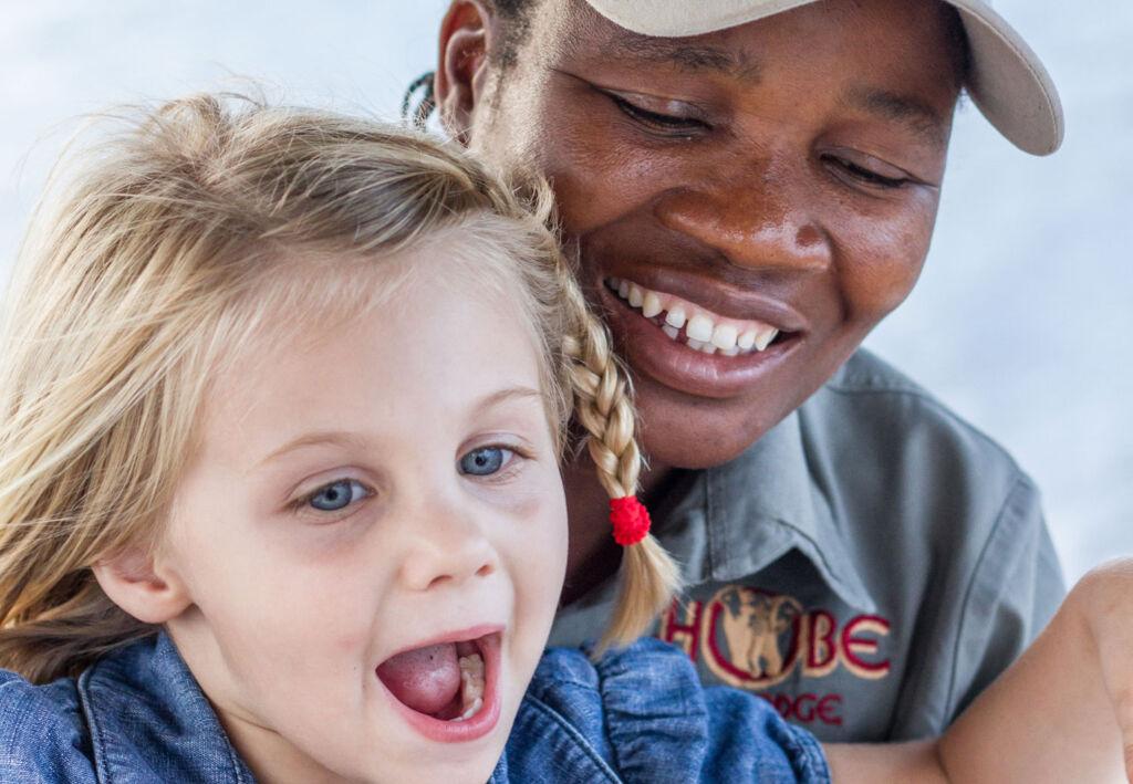 Safari guide with young girl at Chobe Game Lodge in Botswana