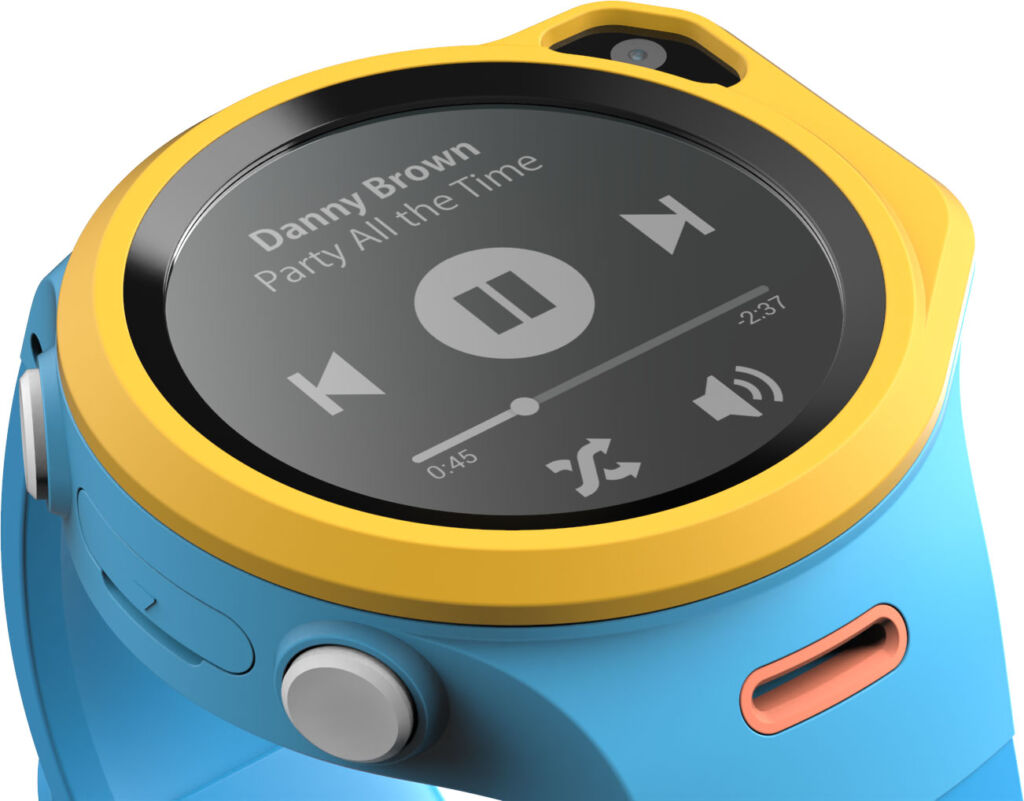 A blue and yellow myFirst smart watch showing the sim card slot on the side
