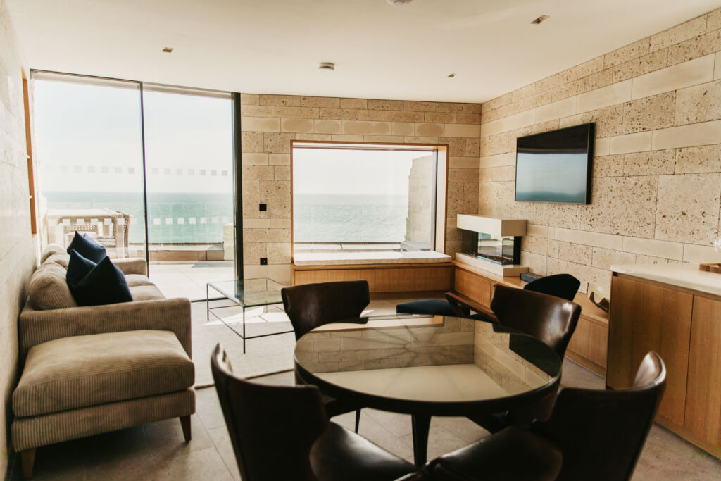Spectacular sea views from the living room at Clifftops in Dorset