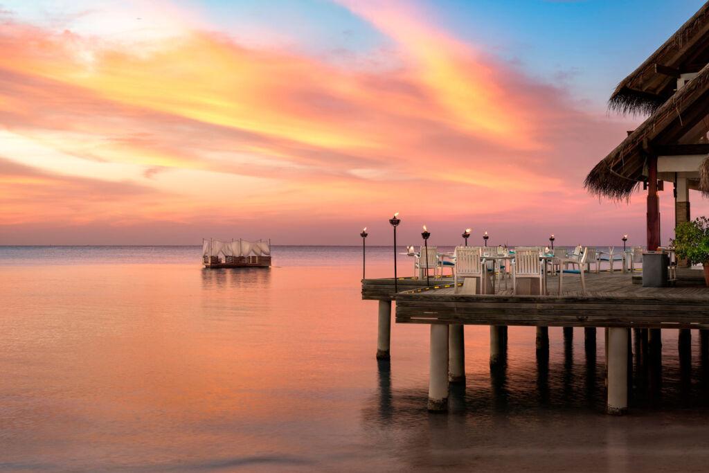 Sunset over the Maldives sea