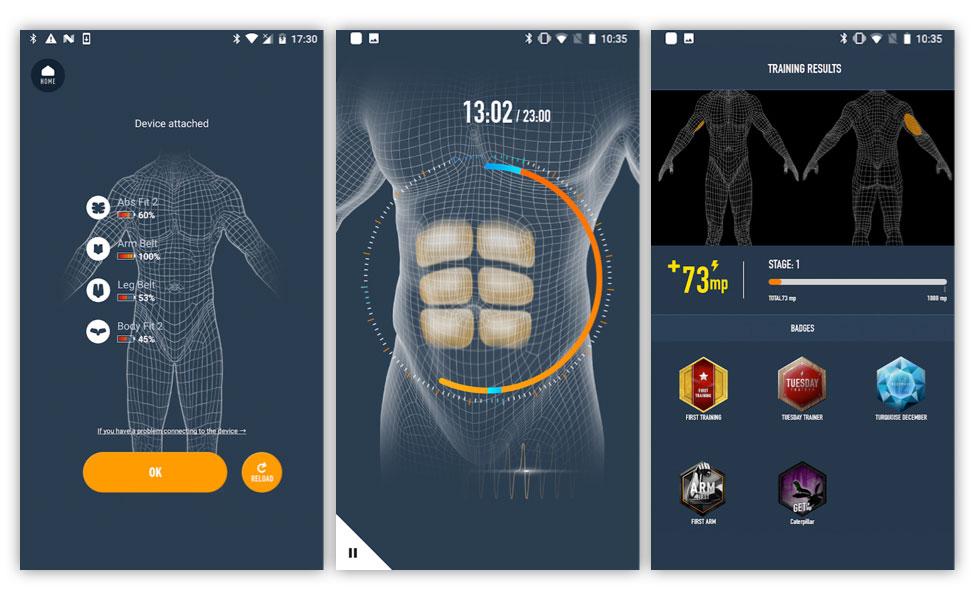 The SIXPAD Abs Belt app screens