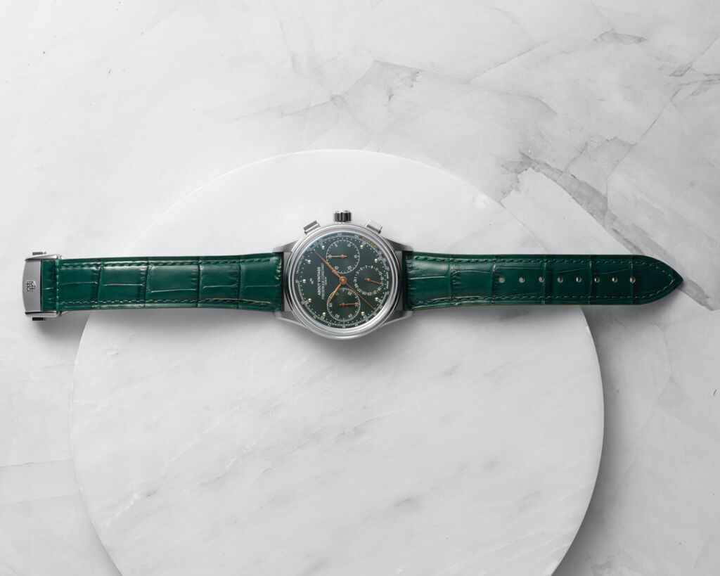 The Flyback Chronograph laid out on a marble work surface