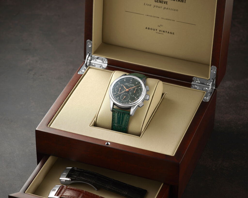 The About Vintage 1988 Flyback Chronograph in its presentation box