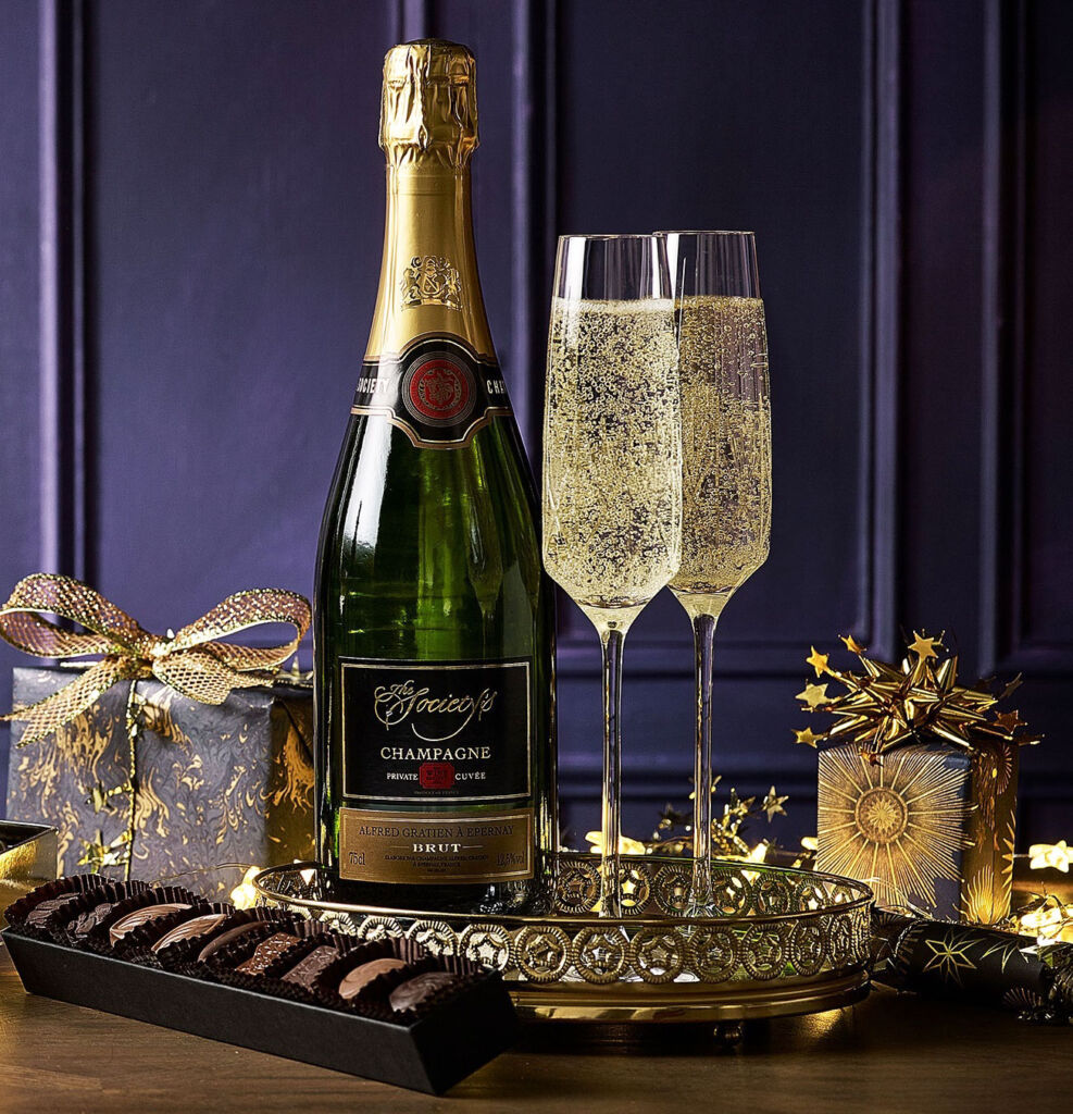 A bottle of fine champagne and some choclates courtesy of the Wine Society
