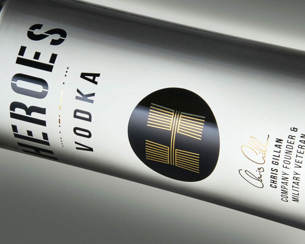 A closeup of the Heroes Vodka Bottle with Chris Gillans signature on it