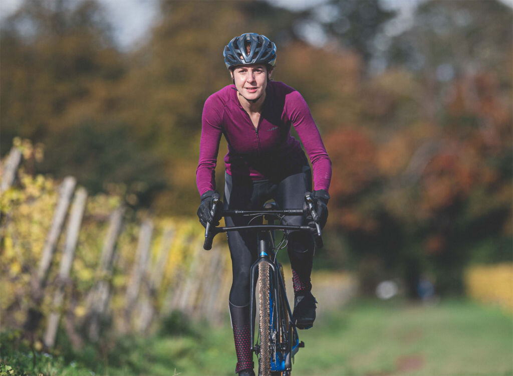 Jessica Strange on her bicycle riding through the countryside