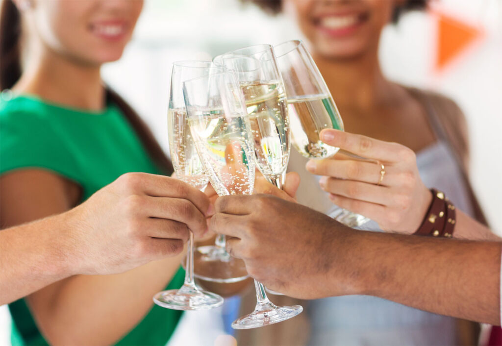 Friends making a toast with sparkling wine