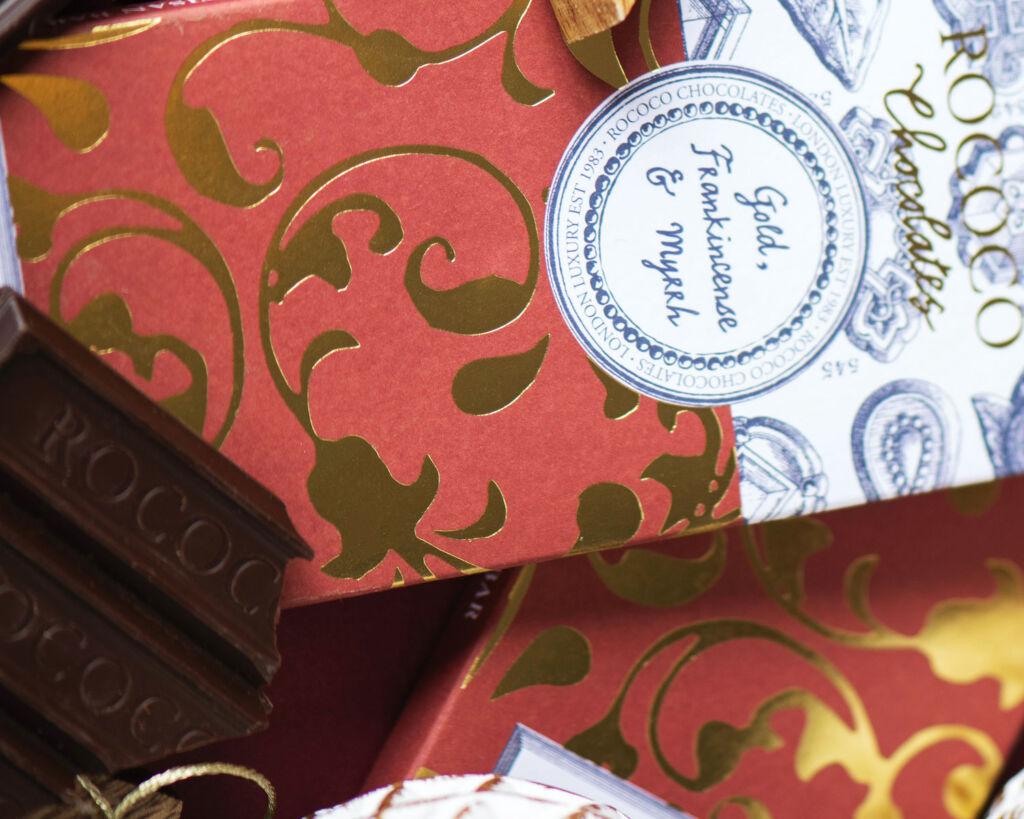The Gold Frankincense and Myrrh chocolate bar