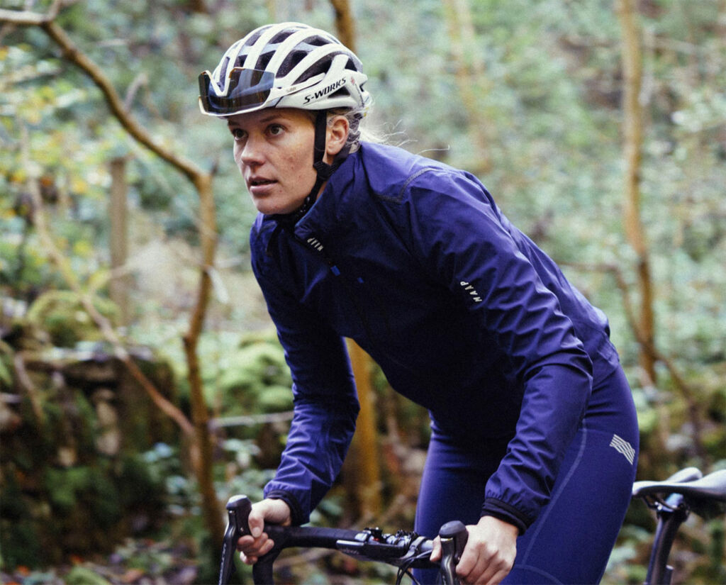 Female rider wearing appropriate clothing for winter cycling