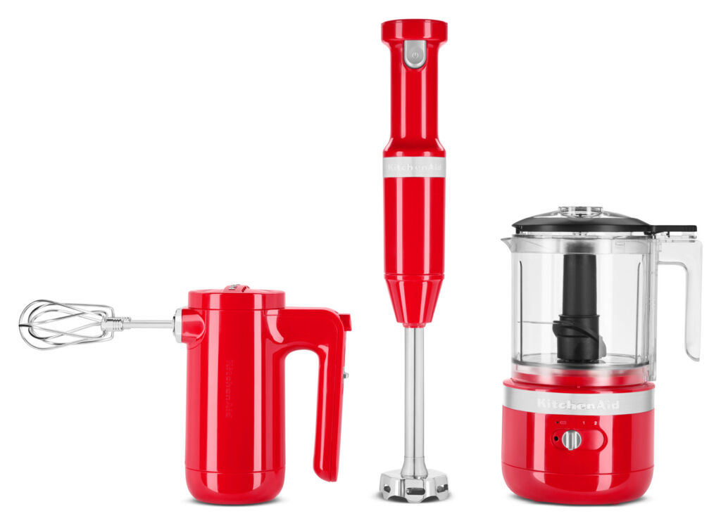 Three parts of the cordless collection in Empire Red
