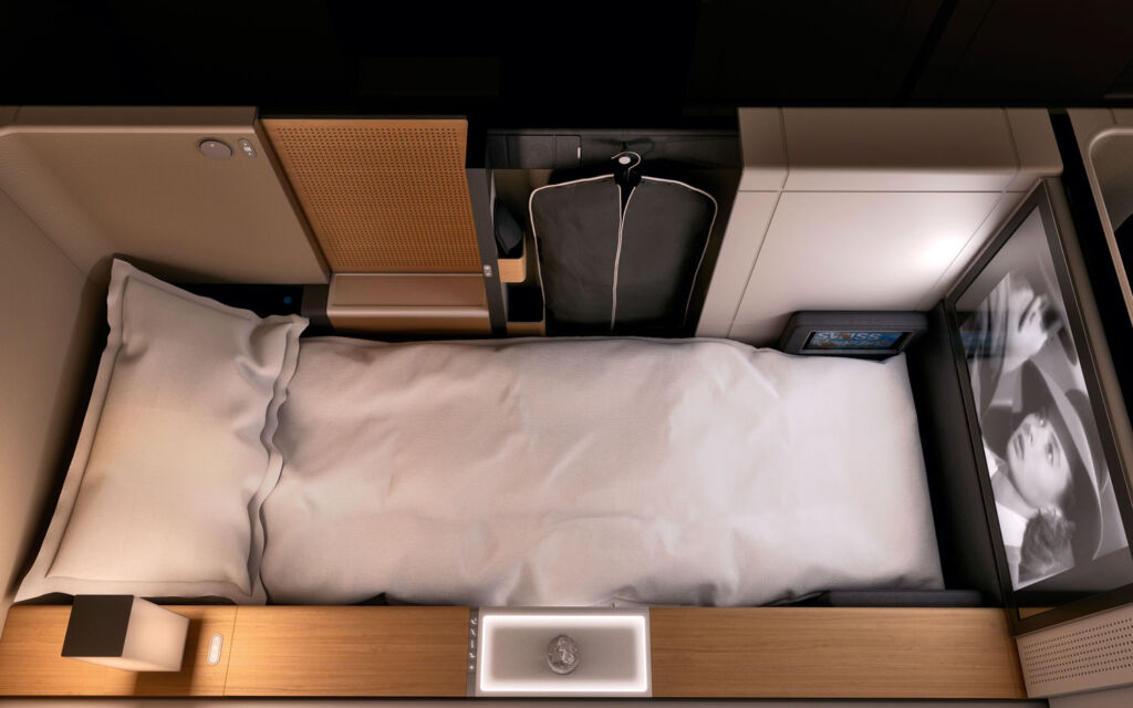 The SWISS first class cubicle transforms into a flat bed
