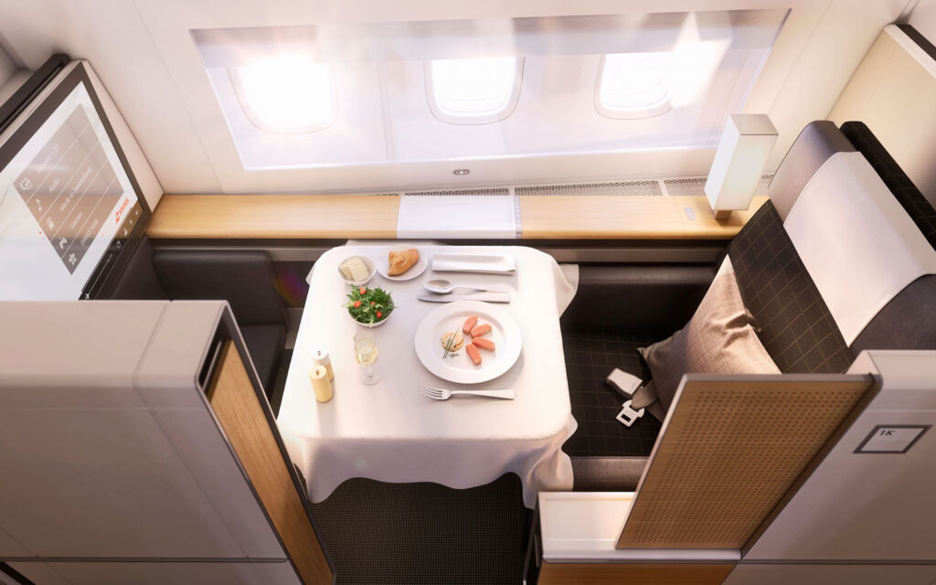 The private cubicle inside SWISS first class