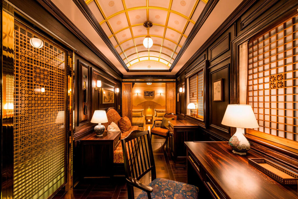 Inside one of the Seven Stars Kyushu carriages