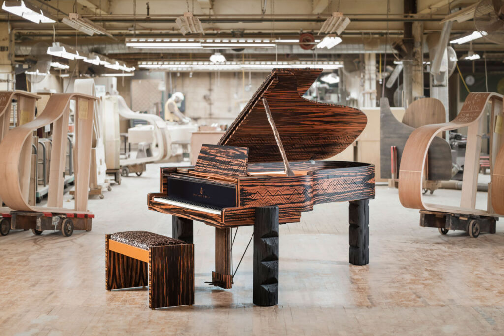 A completed Kravitz Grand piano in the factory