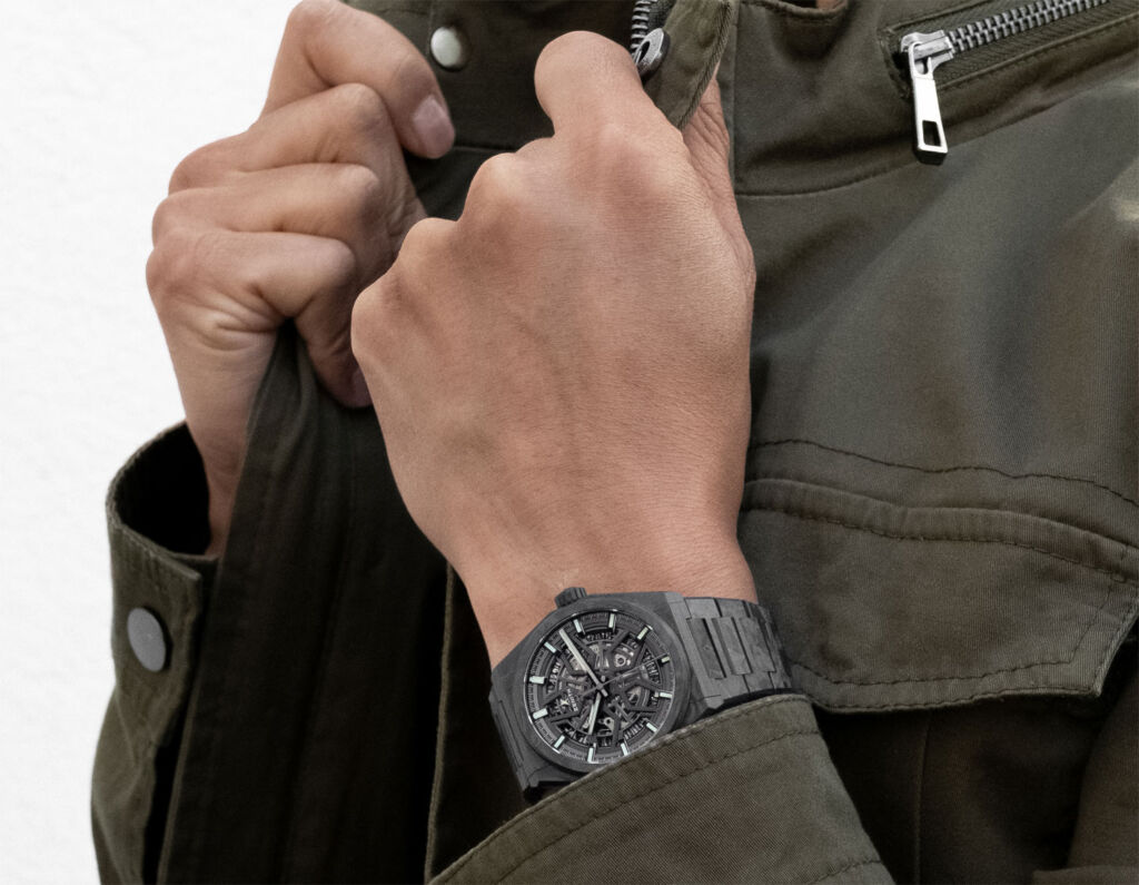 Zenith Defy Classic carbon timepiece being worn on the wrist
