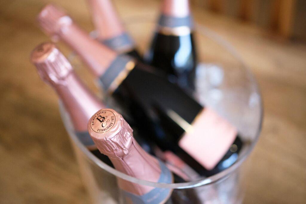 Bottles of Bolney wine in an ice bucket