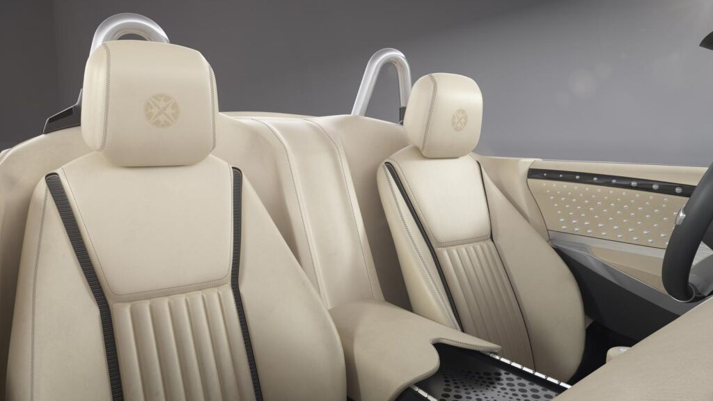 The beautiful leather seats inside the car
