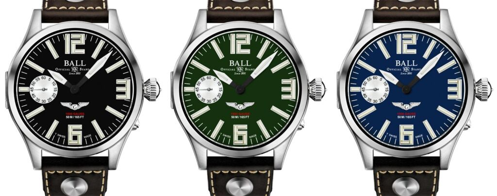 The green, blue and black dial options on the Ball Engineer Master II Waco Glider