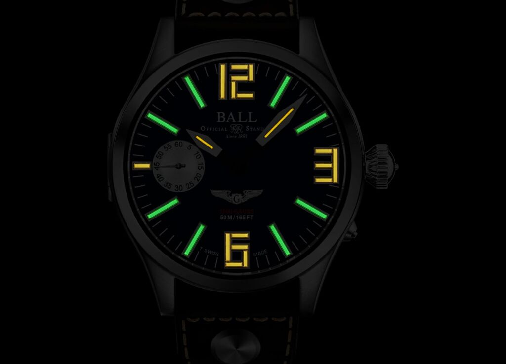 The Ball Watch micro gas tubes in operation in darkness