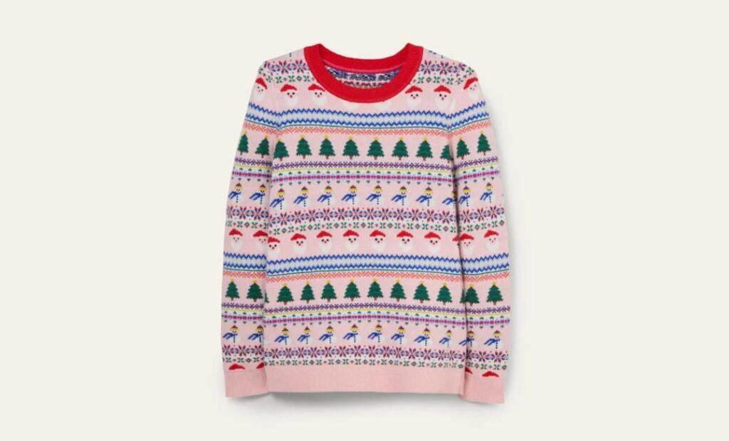 Boden Boto Pink Christmas Jumper