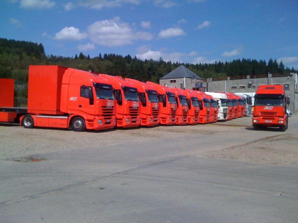 A fleet of trucks ready to transport an F1 team