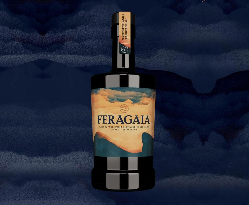 A bottle of Feragaia with a cloudy backdrop
