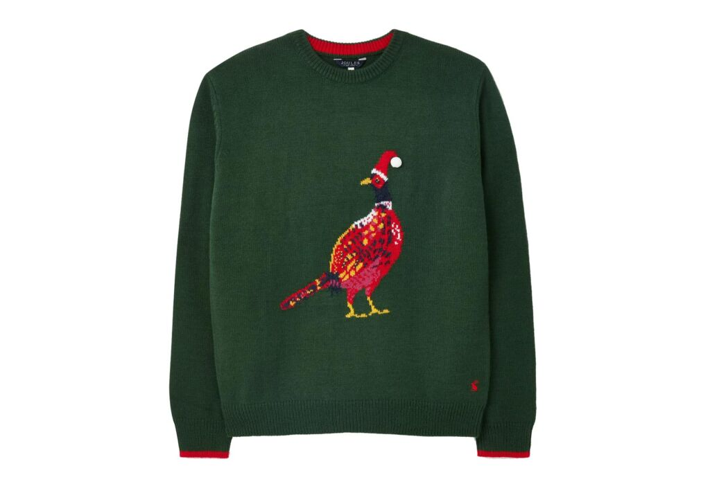 Joules The Cracking Festive Jumper with a male Pheasant on the front