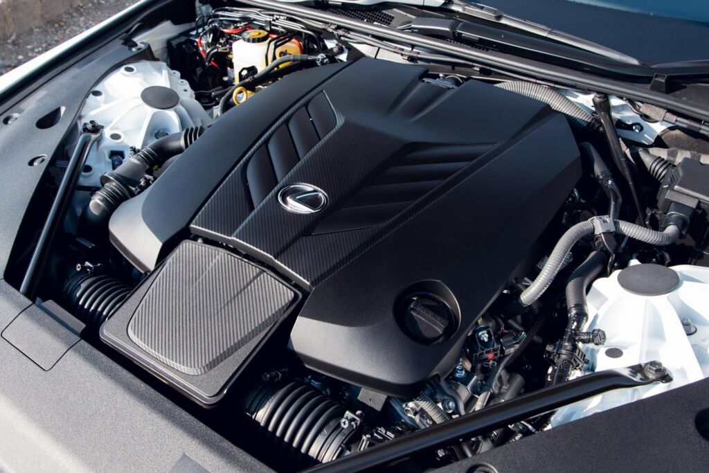 The bonnet up showing the convertible's engine