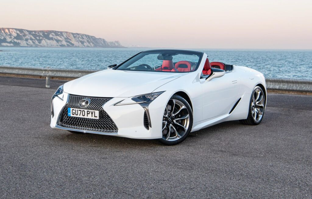 The Lexus LC 500 Convertible parked by the sea in England