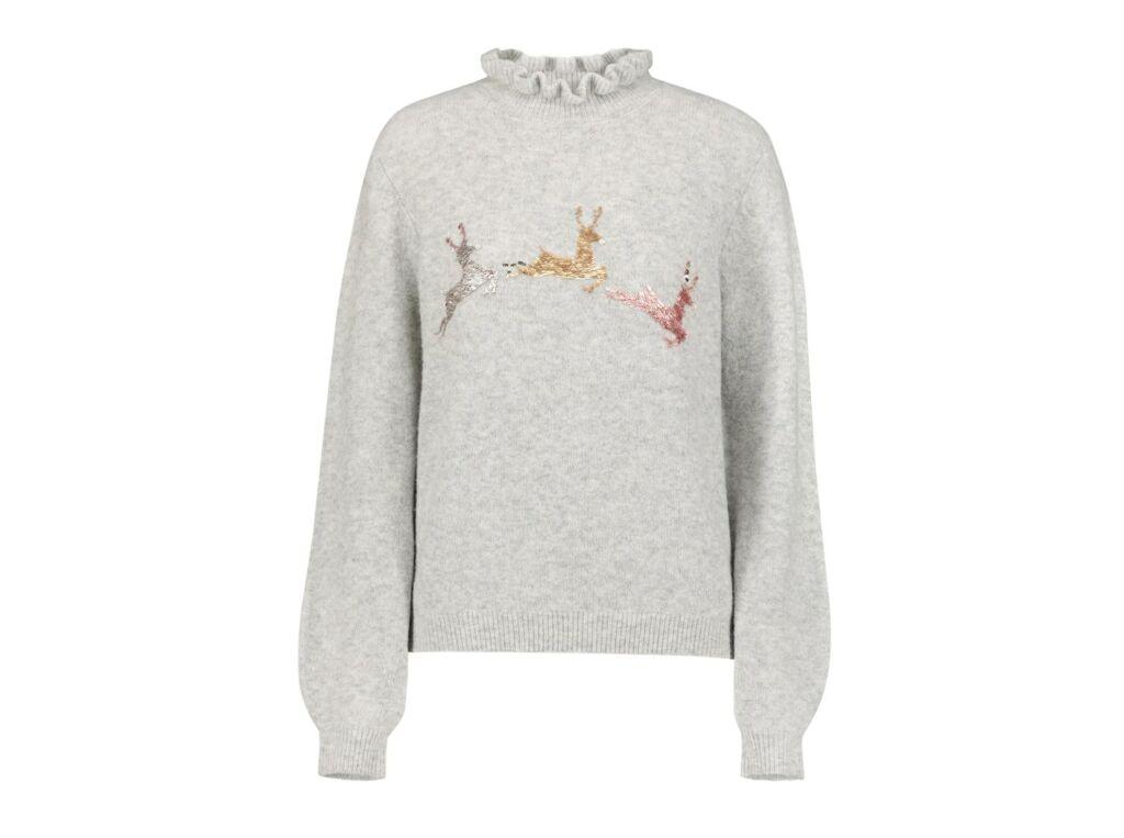 Next Reindeer Jumper with ruffled neck