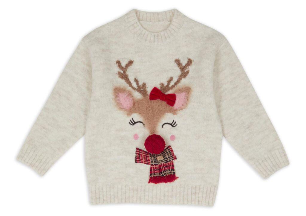 Nutmeg Reindeer girls fluffy Jumper