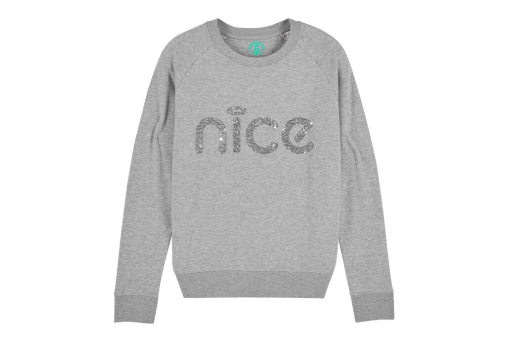 Personalitee Nice Sweatshirt in a grey colour