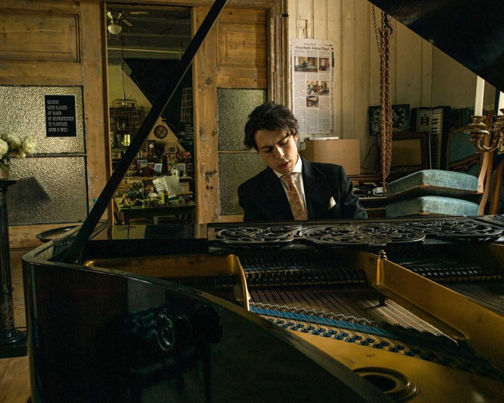 Pianist playing at an in home private concert