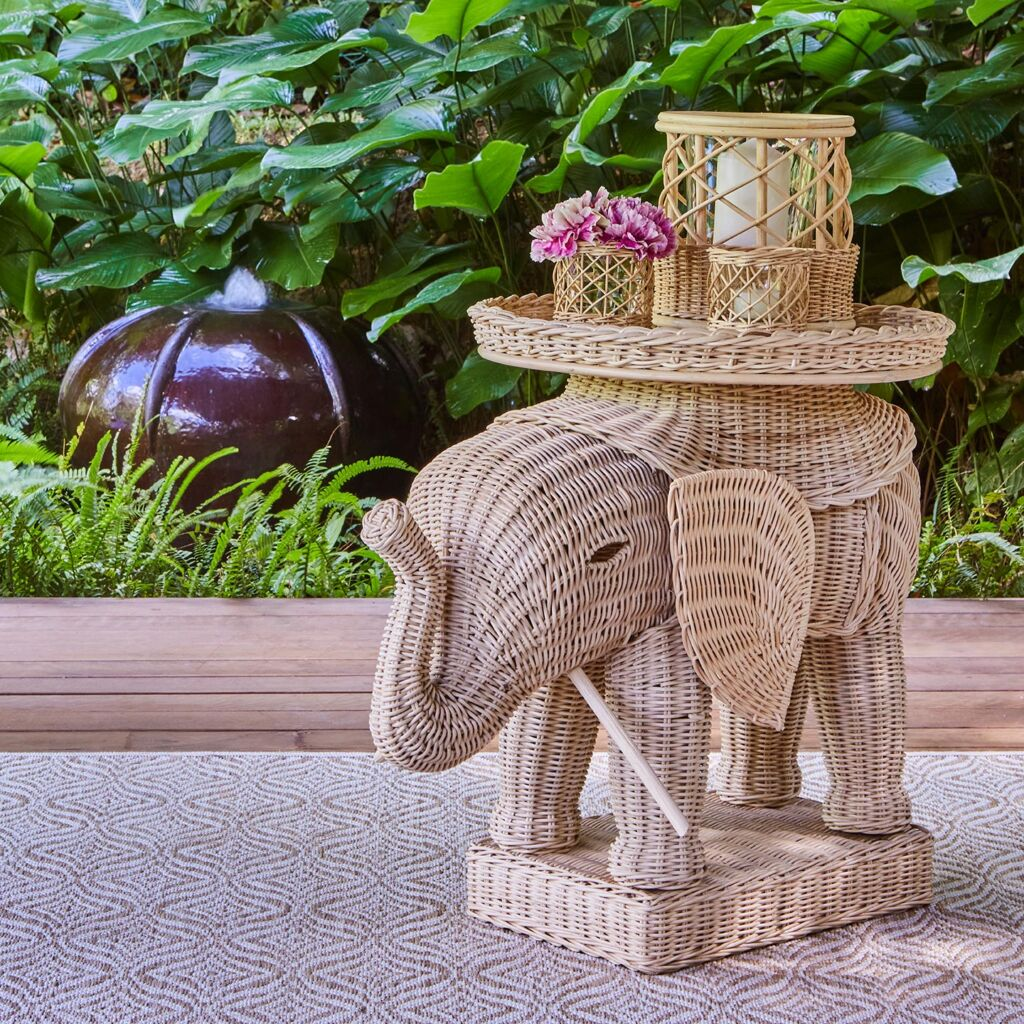 An elephant shaped rattan side table