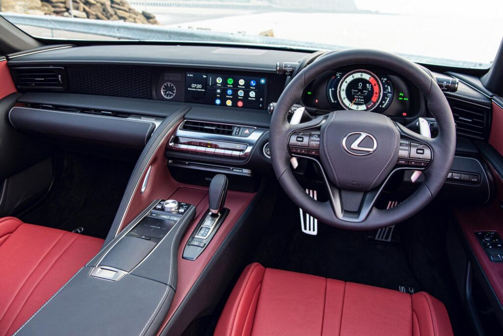 The interior of the LC 500 Convertible is packed with tech with only the clock being the only analogue display
