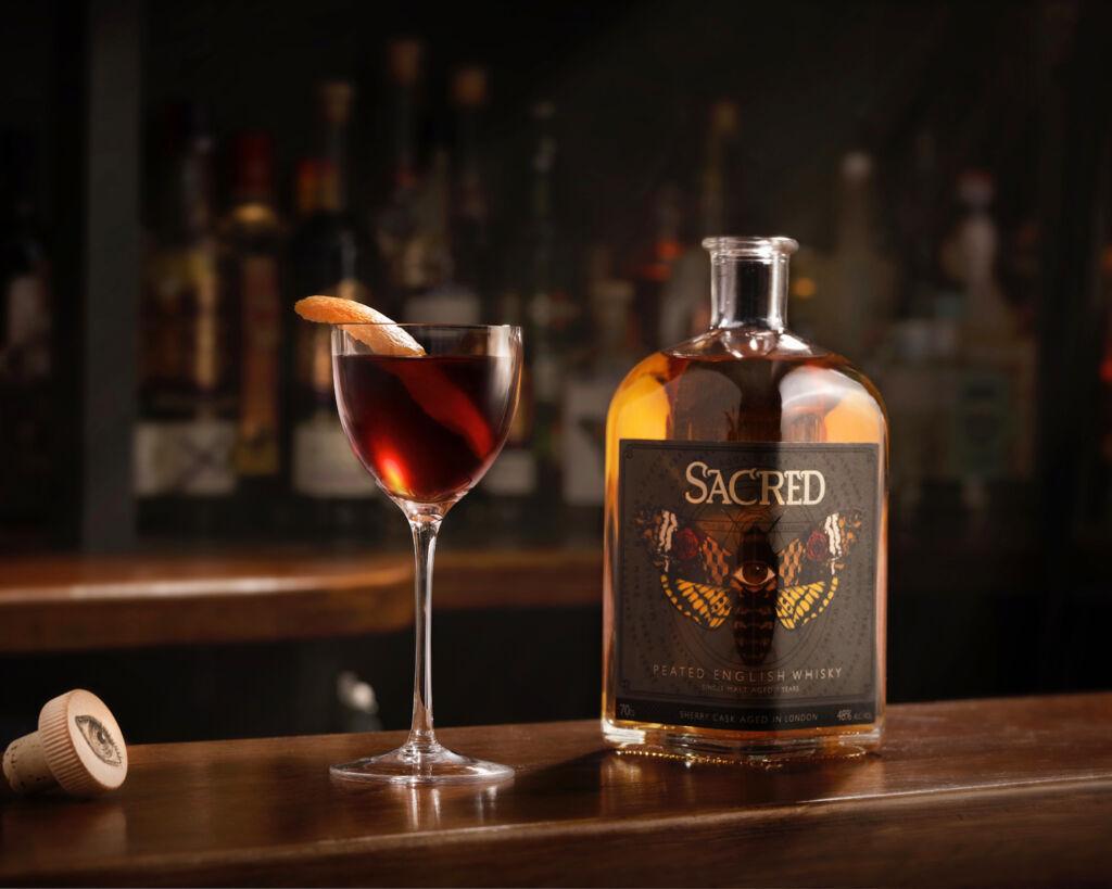 A Bottle of Sacred Peated English Whisky