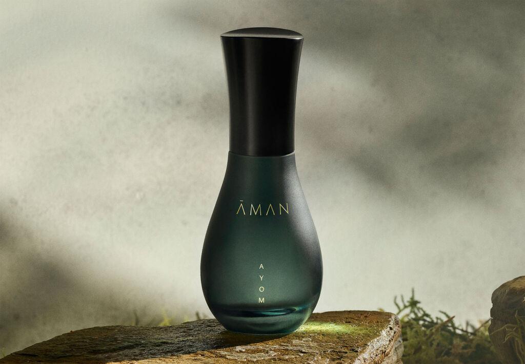 A bottle of AMAN Ayom fragrance