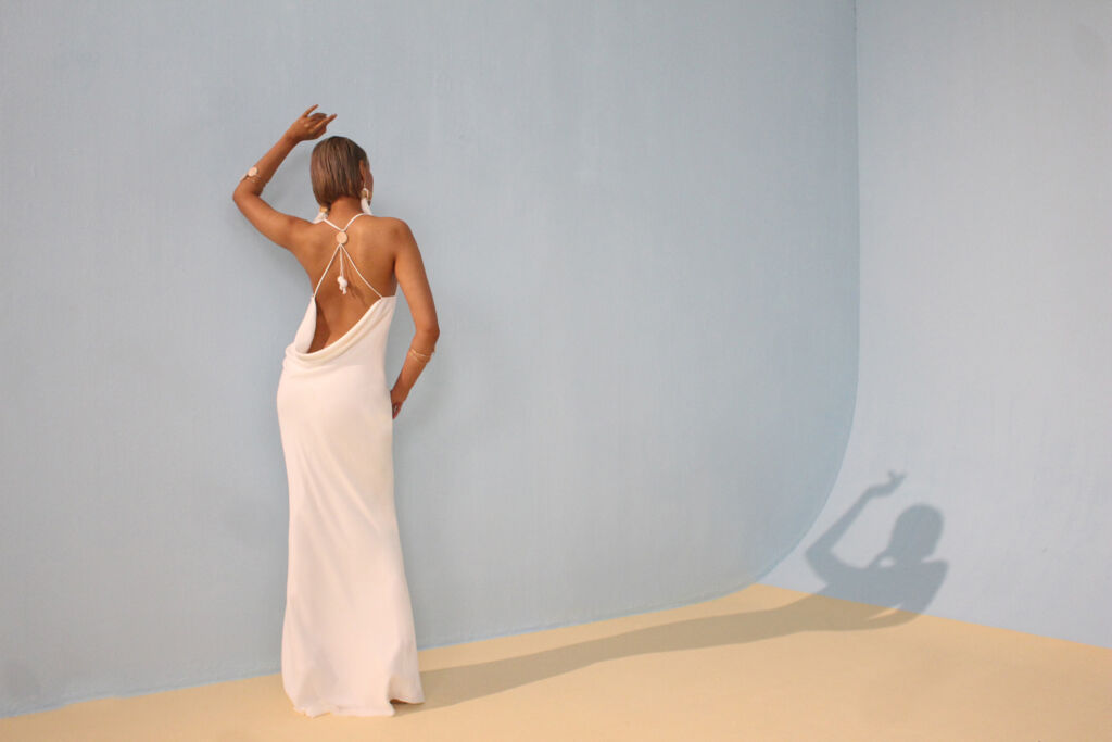 Model wearing an evening dress from the new Resort collection