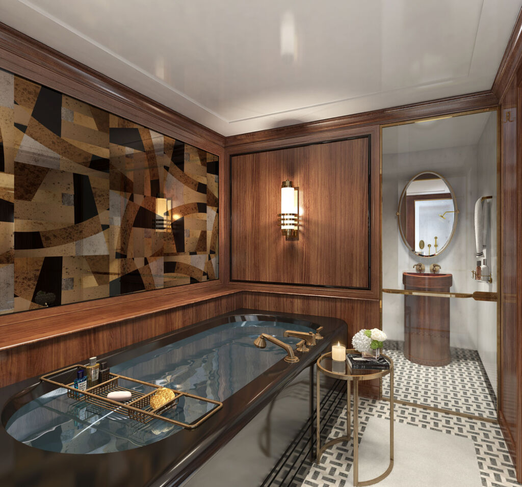 Inside the owners bathroom on the Marala Yacht