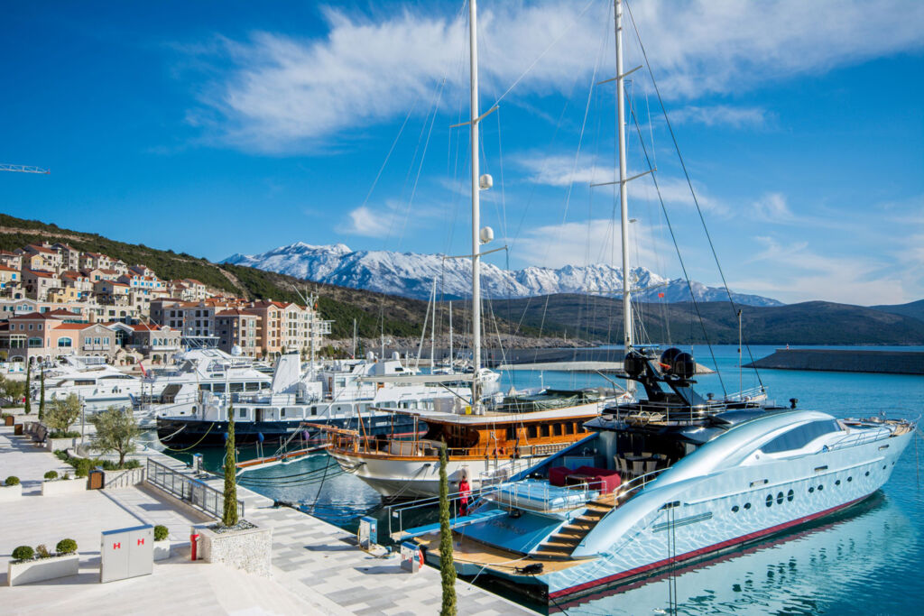 The marina with the snow capped mountains in the distance