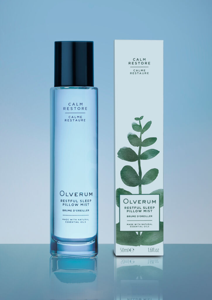 A bottle of Olverum Restful Sleep Pillow Mist with its packaging