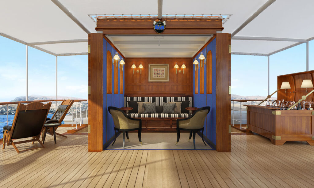The upper deck shelter on the yacht