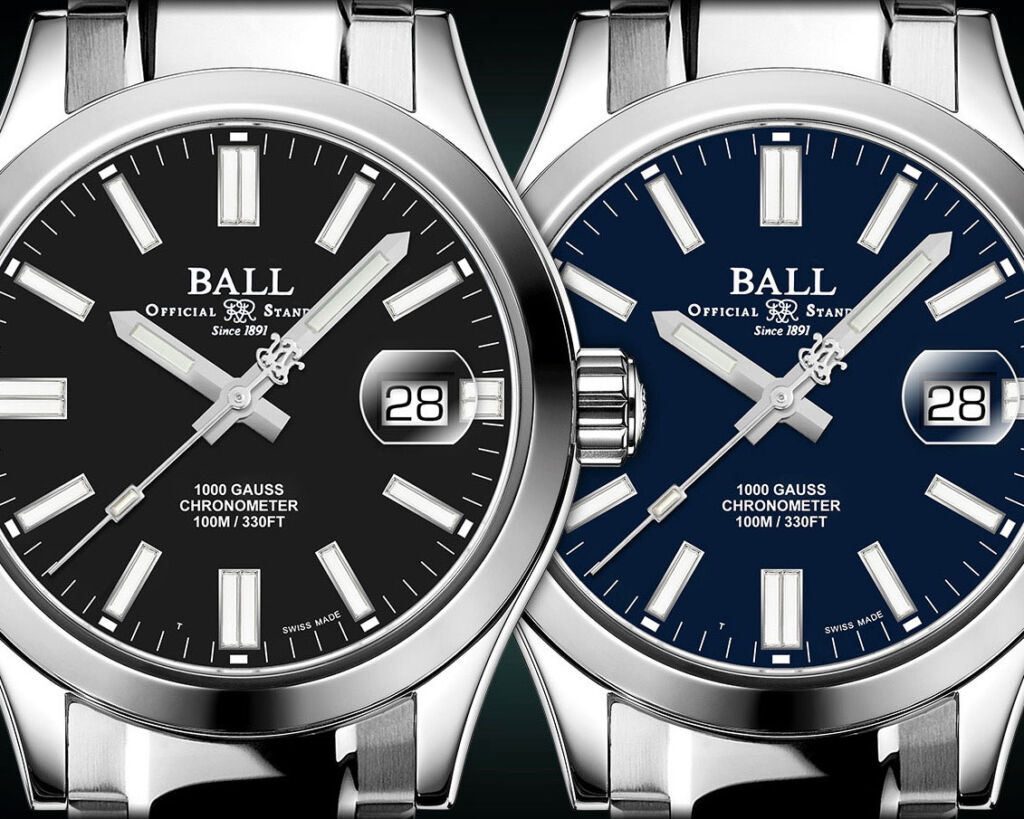 The timepiece comes with a choice of blue or black dials